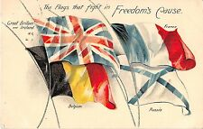 POSTCARD  MILITARY   WWI   PATRIOTIC   FLAGS   Freedom's  cause