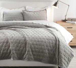 Pottery Barn Cal King Velvet Tufted Quilt & 2 King Pillow Shams, Gray