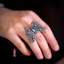 Bague Papillon Mini Perle Turquoise Bleu Reglable Vintage Ancien Original Z2