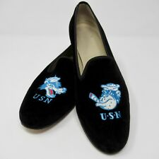 Stubbs Wootton Flats Loafers Slippers Velvet Round Toe USN Navy Size 10