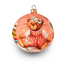 "Hand painted Christmas glass ball Teddy Bear Sewer - 4"" hand painted glass baubl"
