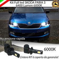 KIT LAMPADE H7 LED ABBAGLIANTI SKODA FABIA MK3 6000K BIANCO NO ERROR 6400 LUMEN