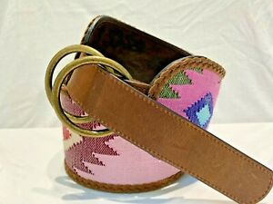 Angel Ranch Belt Colorful Southwestern Print Design Fabric 3.5 Inch SMALL