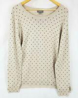 SUSSAN Beige Black Spotted Polka Dot Light Knit Long Sleeve Jumper Top Size L