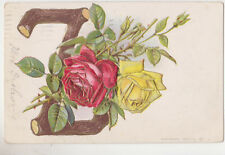 "Alphabet Postcard,""Z"",Embossed,Red & Yellow Roses,Used,1909"