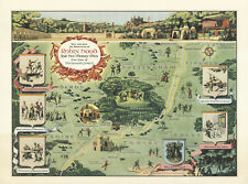 Map Robin Hood and His Merry Men Sherwood Forest Pictorial Wall Art Poster