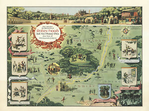 Map Robin Hood and His Merry Men Sherwood Forest Pictorial Wall Art Poster 11x15
