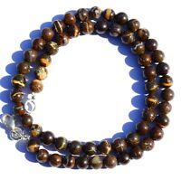 """Natural Gem Australian Boulder Fire Opal 7.5MM Round Beads Necklace 17"""" 152Ct."""