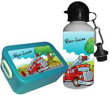 Brotdose aqua Rosti Mepal mit Namen Gemüsefach Trinkflaschen Lunchbox Feuerwehr