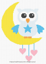 Crochet Patterns - OWL ON MOON with HEARTS - BABY BOY Graph/Chart Afghan Pattern