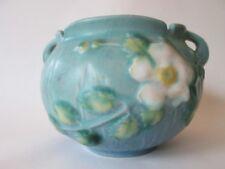 MINI JARDINIERE! Vintage ROSEVILLE ART pottery: blue WHITE ROSE pattern: LOVELY