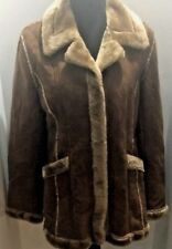 GUESS U.S.A. 1960s Vintage Faux Fur Boho Women's Dress Coat Jacket Size Large