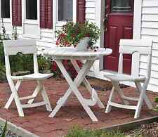 Adams Quik-Fold Folding 3-Piece Patio Cafe Set Bistro Table Dining Chairs, White