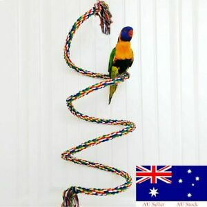 Parrot Rope Budgie Bell Coil Swing Bird Cage Conure Cockatiel Perch Chew  DM