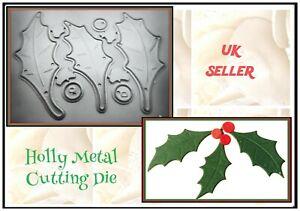 Christmas Holly & Berries Metal Cutting Die Craft Card Making Stencil DIY UK