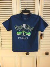 Hard Rock Cafe Youth T-shirt Size XS Panama Guitar Peace Short Sleeve Blue