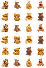 24 Cute Teddy Bear Picnic Cupcake Fairy Cake Toppers Edible Rice Wafer Paper