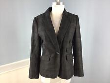 Ann Taylor LOFT Gray Wool Plaid Blazer jacket Career Casual Schoolboy M 8 P EUC