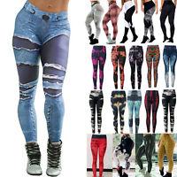 Women Sports Pants High Waist Yoga Fitness Leggings Running Gym Jogging Trousers