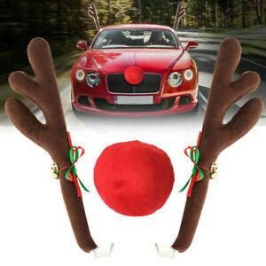 Christmas Car Auto Truck Decoration Antlers & Nose Sets Reindeer Elk XmasDecor