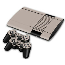 PS3 PlayStation 3 Super Slim Skin Design Aufkleber Schutzfolie Set- Retro NES