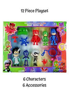 12 Pc - PJ Masks Figurines Toy Set Figure & Tool Catboy Gekko Owlette Kids Gift