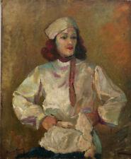 Tableau vers 1930 école Russe signature ? Portrait Autoportrait à la toque