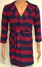 Komar Kids Boys Navy/Burgundy Stripe Plush Dressing Gown BNWT - XS Age 5-6 Years