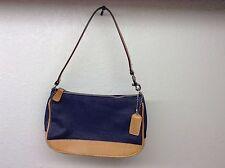 COACH Denim Blue Tan Leather Casual & Compact Hand Bag Purse