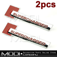 2x Supercharged Emblem Badge for Land Rang Rover Trunk Boot Rear Back Side Red