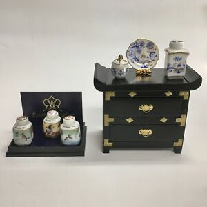 Reutter Porcelain Miniature Dollhouse Discontinued Japan Sideboard AND Tea Boxes