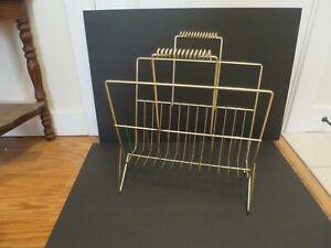 Vintage Mid Century Modern Gold Metal Wire Magazine Rack Stand Holder Atomic Era