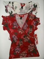 Hot Kiss floral print surplice cap sleeve top S M red white nwt $20 retail