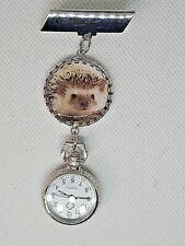 cute HEDGEHOG  brooch fob watch  nurse  , uniform , carer watch