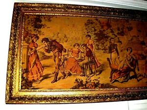 HUGE Antique Vintage Romantic Royal Love Courting French Wall Tapestry SUPERB!!!