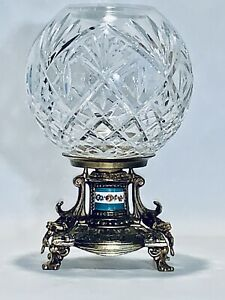 Stunning antique Crystal glass rose bowl on Fabulous French Brass Stand