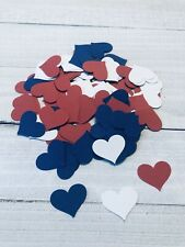 Red, White & Blue Heart Paper Confetti Wedding Party Decoration, 100 Pieces