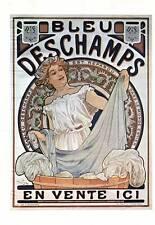 """Mucha 1976 Authentic Vintage Art Nouveau Print """"Bleu DESCHAMPS"""" LIBRO Piastra"""