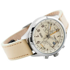 Timex Women's IA Fly Back Watch T2P382 Cream Leather Strap and Dial
