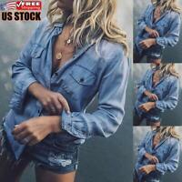 Women's Soild Casual Denim Blouse Ladies Long Sleeve Buttons Jeans Tops T Shirt