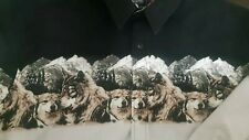 Roper Western Black Pearl Snap Up Shirt Vintage Wolves & Mountain Image XL
