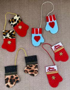 "Lot of 4 MITTENS GLOVES w/assorted designs Handmade Felt Ornaments 3 1/2"""