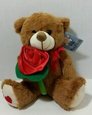 "9"" SOFT PLUSH BEAR WITH RED ROSE FLOWER ♡NEW!!"