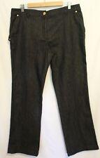 ESCADA ~ Charcoal Grey Flat Front Straight Leg Stretch Jeans w Gold Hardware 44