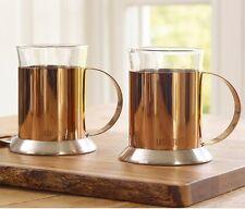 2 x La Cafetiere COPPER GLASS CUPS Tea COFFEE MUGS & Holders