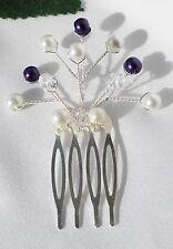 Handmade - Bridal Bridesmaid Prom - Cadbury Purple pearl & Ivory hair comb slide
