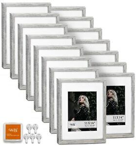 "CAVEPOP 11x14"" Mat 8x10"" Picture Frame 15 Pieces Set- Rustic Grey"