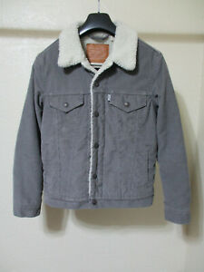 Levi's Premium Line Gray Corduroy Sherpa Lined Tucker Jacket - Size XS