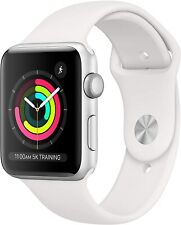 Apple Watch Series 3 42mm GPS Silver Aluminum - White Sport Band MTF22LL/A *New*