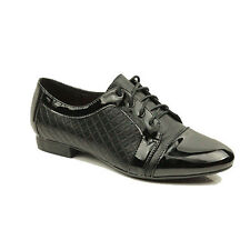 Womens Ladies Casual Lace up School Office Oxford Loafers Shoes PUMPS Size 3-8 UK 7 - Eu40 Black